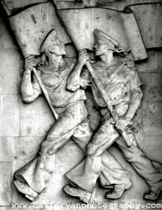 Hungary, Budapesst, Frieze on Building showing Heroic Sailors