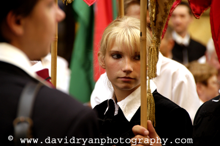 girl in parade staging area, budapest, hungary