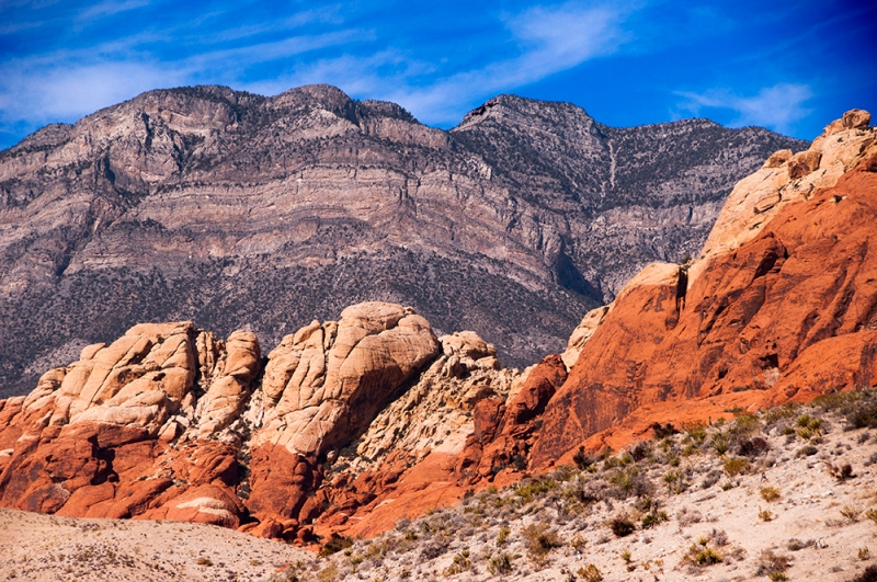 Scenic view of the walls at Red Rock Canyon