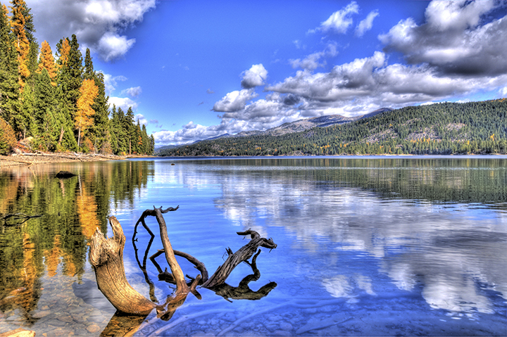 Scenic view of Huckleberry Bay on Payette Lake in McCall Idaho